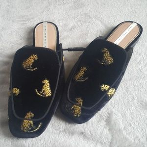 Zara NWT cheetah embroidered slides mules